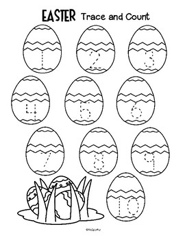 Easter Trace and Count 1-10 Numbers Fine Motor Preschool Free