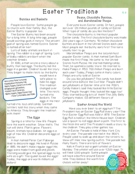 Easter Traditions Reading Comprehension Passage and Questions - Level 4.0