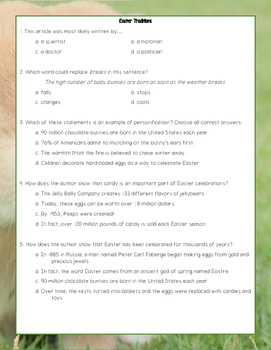 Easter Tradition Reading Comprehension Passage and Questions  - Level 8.0