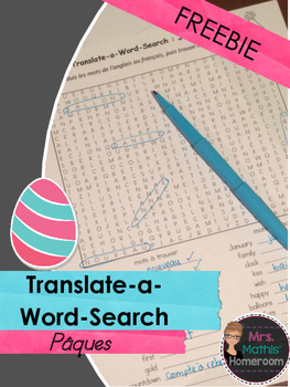 Easter Translate-a-Word-Search (English to French)