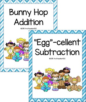 Easter Two-Digit Addition and Subtraction Folder Games