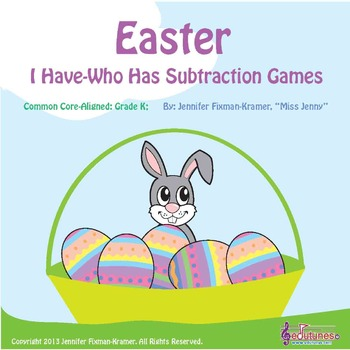 """Easter - Two """"I Have-Who Has"""" Subtraction to 10 Games / Common Core-Aligned"""