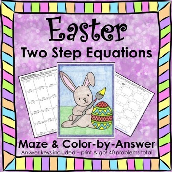 Spring Solving Equations Easter Math Two Step Equations Maze Color by Number Set