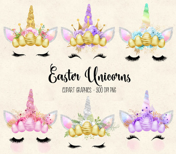 Easter Unicorn Faces clipart, horns, crowns, eggs, eyelashes, flowers clip art
