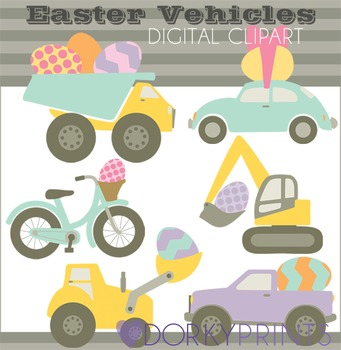 Easter Vehicles Digital Clip Art