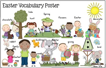 FLASH FREEBIE Easter Vocabulary Cards Record Sheets, Game and Poster