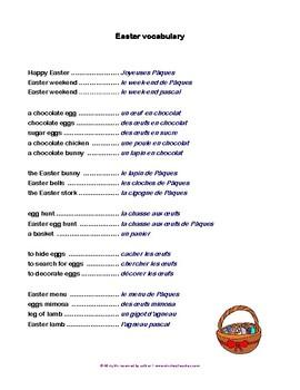 Easter Vocabulary - Vocabulaire de Pâques FREE