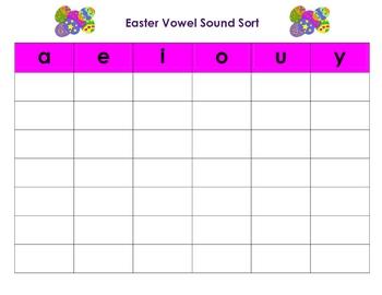 Easter Vowel Sound Sort