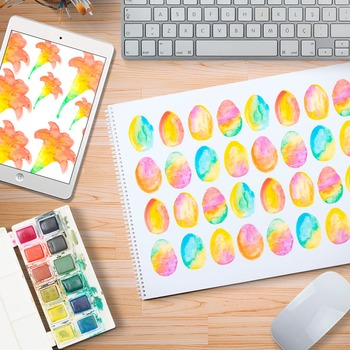 Easter Watercolor Background Hand Painted  - Commercial Use Clip Art
