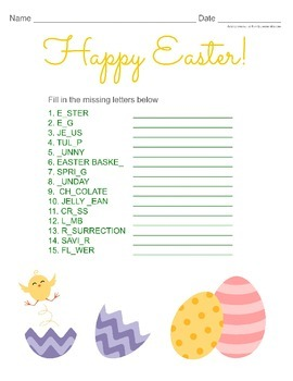 Easter Word Activity with Missing Letters