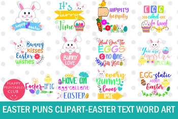 Easter Word Art Clipart-Easter Puns Clipart- Easter Graphics Clipart