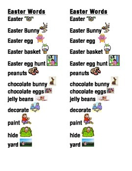 Easter Word Picture Sentence Helpers