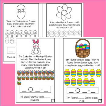 Easter Word Problem Mini Books! Addition Within 10 and Within 20