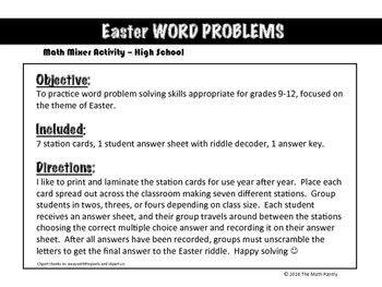 Easter Word Problems - Math Mixer Activity - High School
