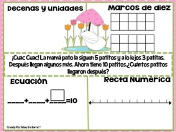 Easter Word Problems/ Pascua Problemas de Matemáticas 3 sumandos