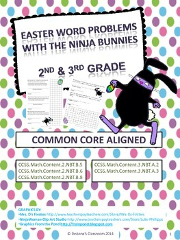 Easter / Spring Math Problems - Ninja Bunnies: Common Core Aligned 2nd-3rd Grade