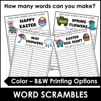 Easter Word Scramble Worksheet {Freebie} How many words can you make?