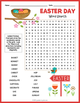 Easter word search pdf
