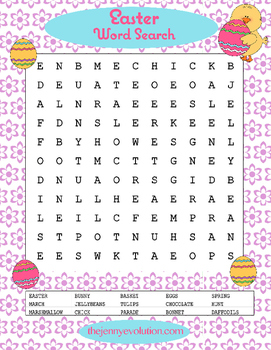 Easter Word Search Puzzle.