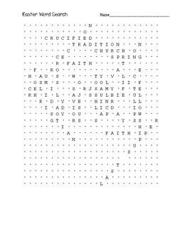 English Easter Word Search Puzzle (Religious)