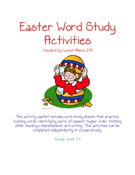 Easter Word Study Activity Printables