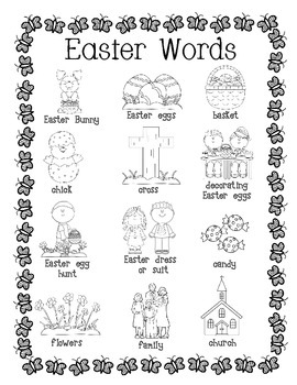 Easter Word Wall for Daily 5 Writing Portfolios / Journals / Writing Center