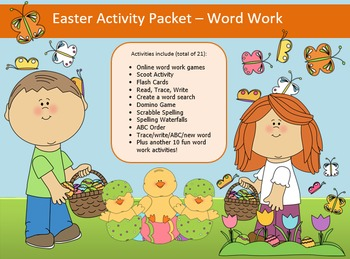 Easter Word Work Packet – 15 words, no prep spelling packet, 65 pages