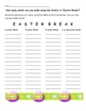 Easter Word Work Worksheet