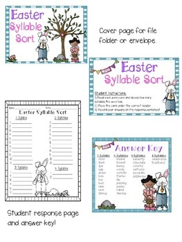 Easter Words Syllable Sort