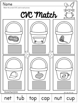 Easter Worksheets for Kindergarten - ELA and Math - Common Core Aligned