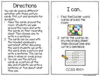 Easter Write the Room Vocabulary