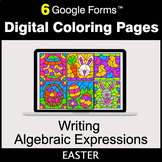 Easter: Writing Algebraic Expressions - Google Forms   Digital Coloring Pages
