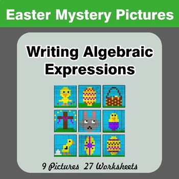 Easter: Writing Algebraic Expressions - Math Mystery Pictures / Color By Number