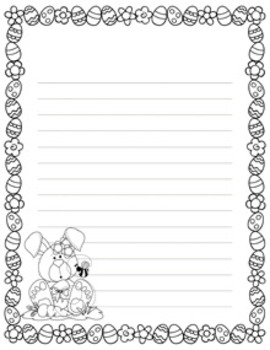 Easter Writing Paper - Black and White - 3 Styles