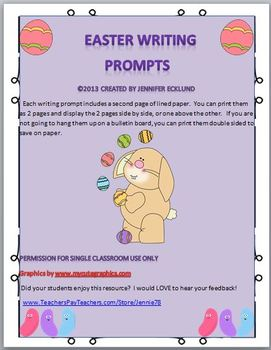 Easter Writing Prompts- Chocolate Bunny Comes Alive! Fun!!