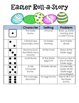 Easter Writing Station Roll-A-Story with Writing paper to go along with lines