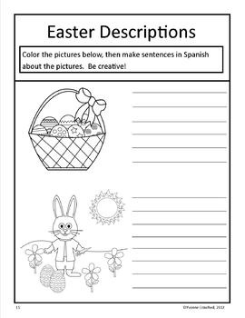 Easter Writing Centers in Spanish - La Pascua
