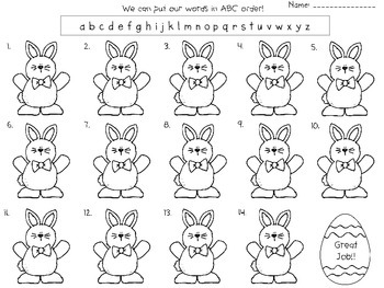 Easter: abc order (freebie)