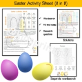 Easter activities worksheet - wordsearch plus fill the bla