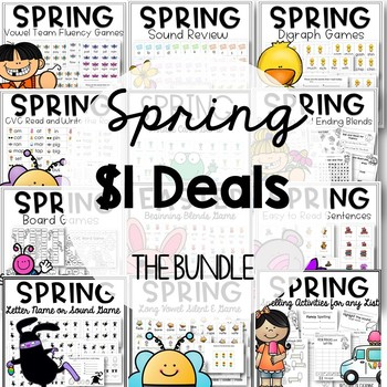 March Phonics Worksheets and Games for Spring Bundle