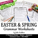 Easter and Spring Grammar Worksheets, NO PREP, Middle and High School