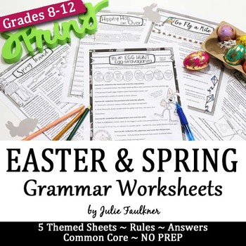 Easter and Spring Grammar Worksheets, NO PREP, Middle and