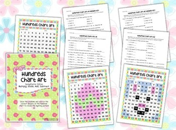 Hundreds Chart Art: Easter & Spring (Mystery Picture): MULTIPLY DIVIDE 3rd-6th