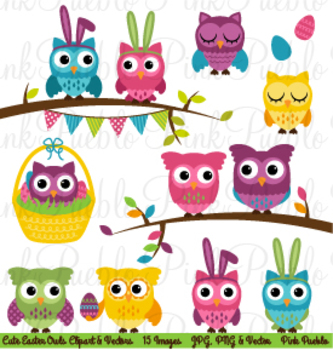 Easter and Spring Owls Clipart Clip Art