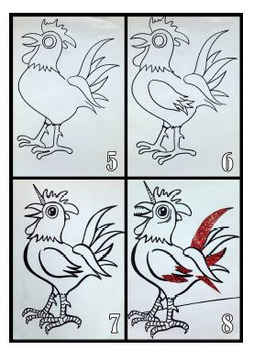 Easter Art Activity and Lesson for Kids: Unicorn Rooster for Easter