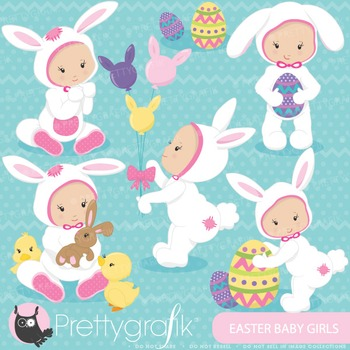 Easter baby girl clipart commercial use, vector graphics, digital - CL645