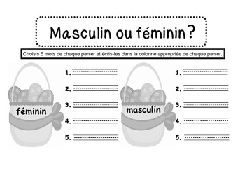 {Easter bunnies} Nouns and their gender {Center activity} English and French