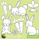 Easter bunnies stamps commercial use, vector graphics, images, rabbits - DS507
