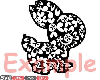 Easter bunny Flowers and hearts clipart fun rabbit ears designs t shirt 636s