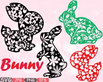 Easter bunny Flowers and hearts clipart fun rabbit ears de